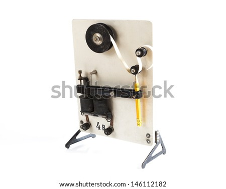vintage morse telegraph machine isolated on white background - stock photo