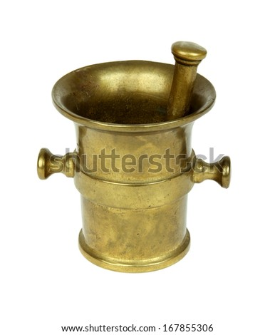Vintage mortar and pestle on a white background - stock photo