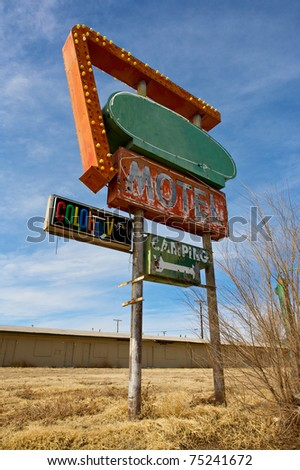 Vintage Motel Sign along old Route 66. - stock photo