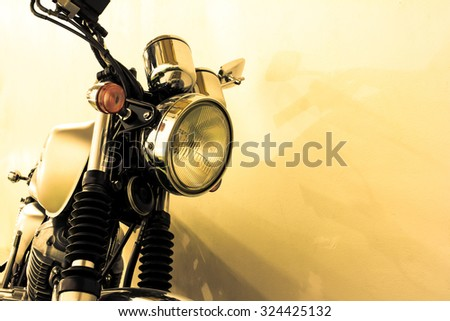 vintage Motorcycle detail, vintage color style - stock photo