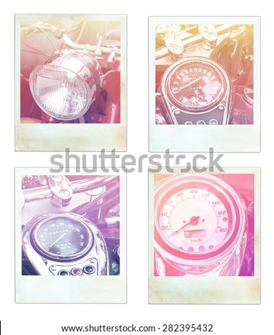 vintage motorcycle speedometer motorcycle bike instant photo - stock photo