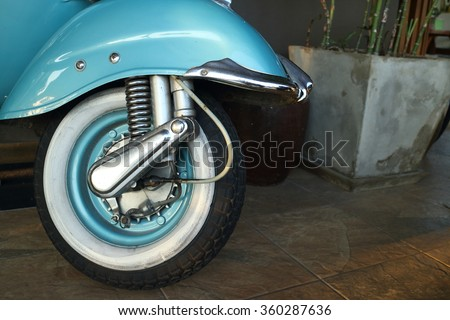 Vintage Motorcycle tire or scooter tire. - stock photo
