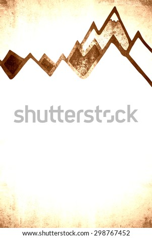 vintage mountains background template - stock photo