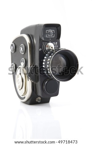 vintage Movie camera on a white background - stock photo