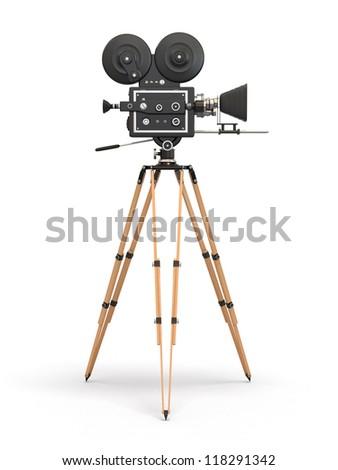 Vintage movie camera on white background. 3d - stock photo