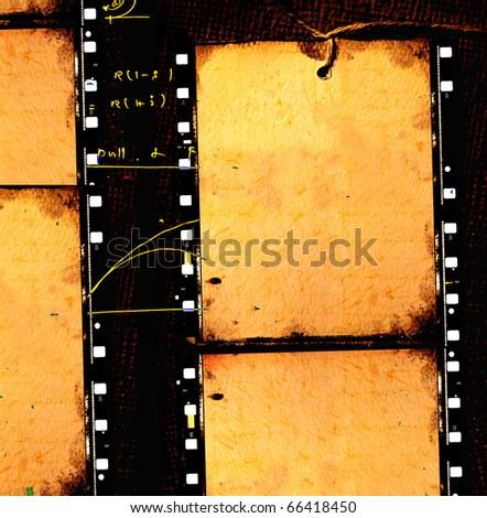 Vintage movie film strips for background - stock photo