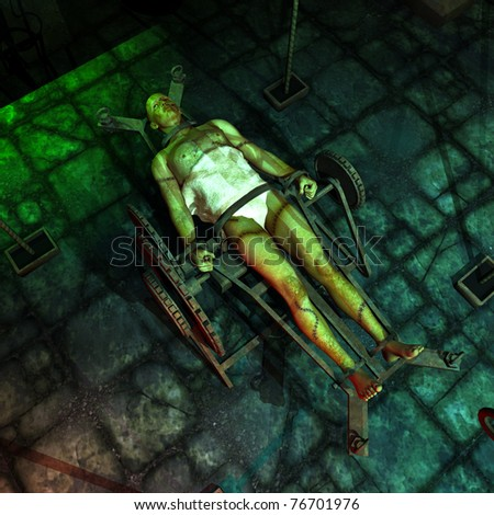 Vintage movie Frankenstein type creature covered with scares and stitches laying out restrained in the Scientist Laboratory waiting for the lighting to stick the reanimation processes.  Illustration. - stock photo