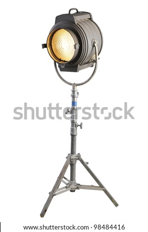 Vintage Movie Light on a stand - stock photo
