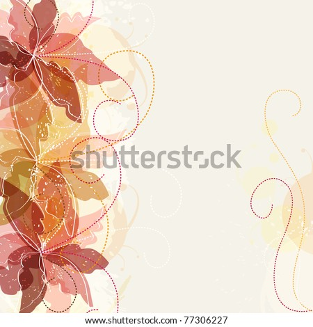 vintage multicolor floral design - stock photo