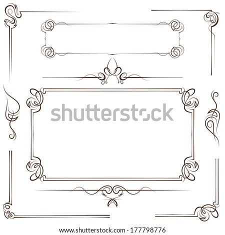 Vintage multilayer set frame and border with swirls - stock photo