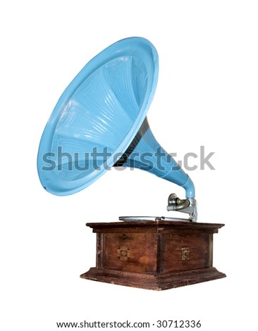 Vintage musical gramophone isolated from background