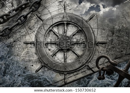 Vintage navigation background illustration with steering wheel, charts, anchor, chains - stock photo