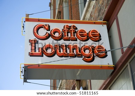 Vintage neon coffee shop sign - stock photo