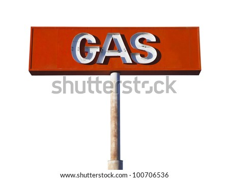 Vintage neon gas sign isolated on white. - stock photo