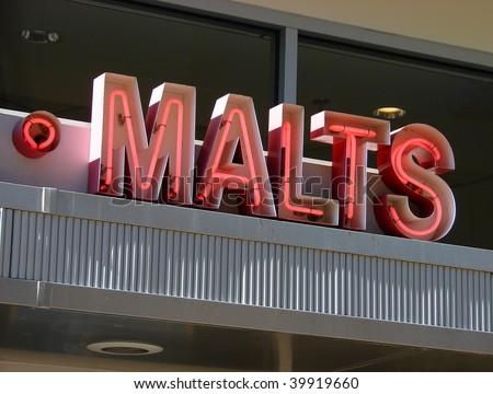 vintage neon malt sign - stock photo