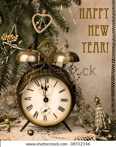 Vintage New Year - stock photo