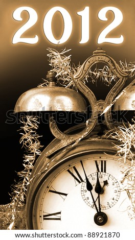 Vintage New Year 2012 in brown tones - stock photo