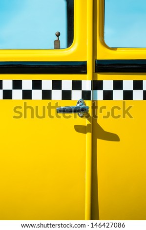 Vintage New York City Yellow Taxi Cab door panel - stock photo