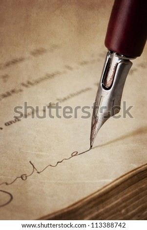 Vintage nib pen, signing old paper.  Grunge effects. - stock photo