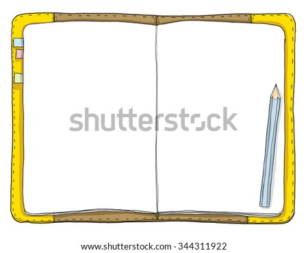vintage notebook and blue pencil art painting cute illustration - stock photo