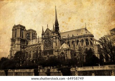 Vintage Notre Dame postcard, Paris - stock photo