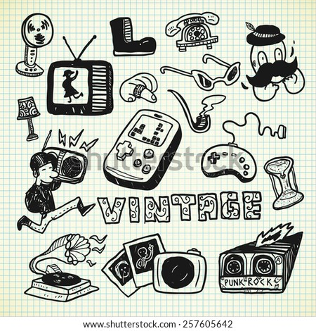 vintage object in doodle style - stock photo