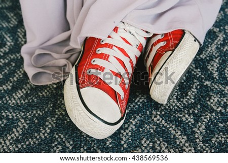 Vintage of Red sneakers shoes
