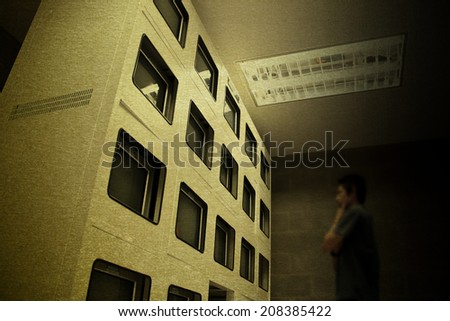 vintage office control room subways security technology monitor - stock photo