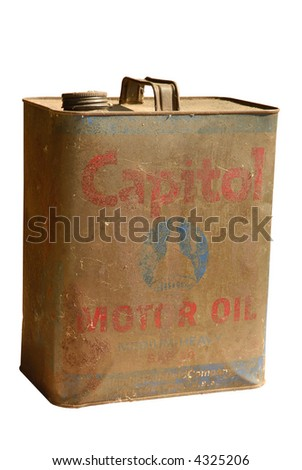 Vintage Oil Can isolated on white - stock photo
