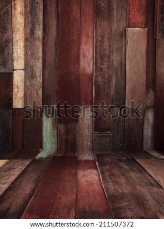 vintage old and grunge wood panels background - stock photo