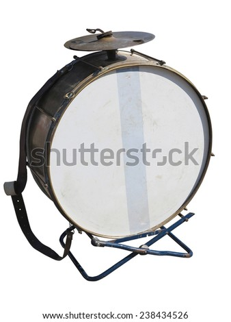 Vintage old bass drum  isolated over white background - stock photo