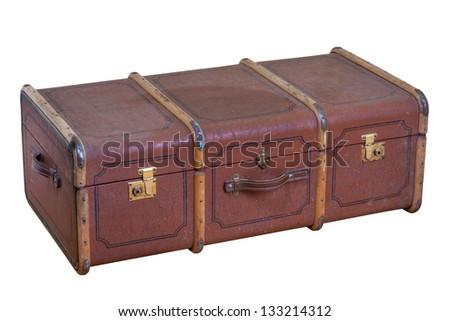 Vintage old big travel suitcase isolated on white - stock photo