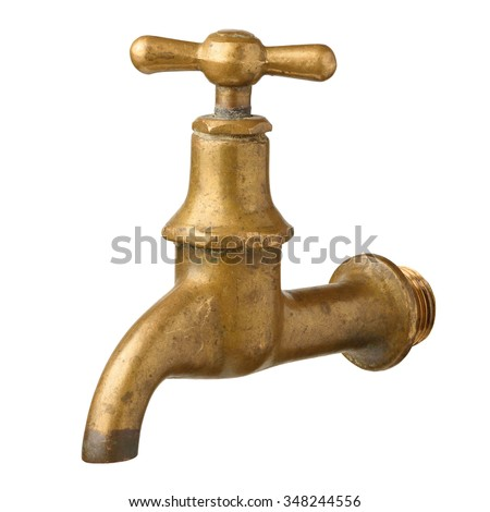 Vintage old brass water tap isolated on white - stock photo