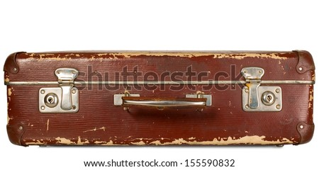Vintage old brown suitcase on white isolated background - stock photo