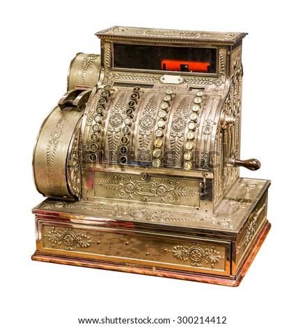Vintage old cash register isolated on white background - stock photo