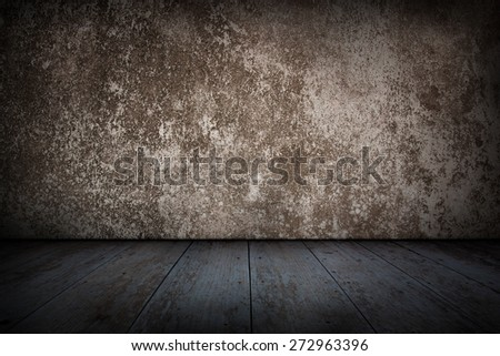 Vintage, Old concrete wall and wooden floor. - stock photo