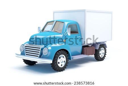 Vintage old delivery truck isolated on white - stock photo