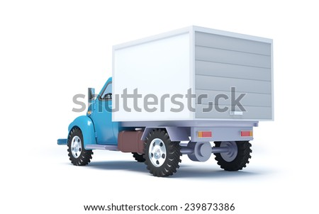 Vintage old delivery truck isolated on white. Back view - stock photo