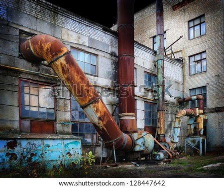 Vintage old factory - stock photo