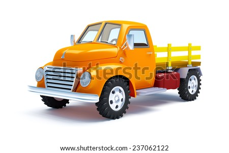 Vintage old farm truck isolated on white - stock photo