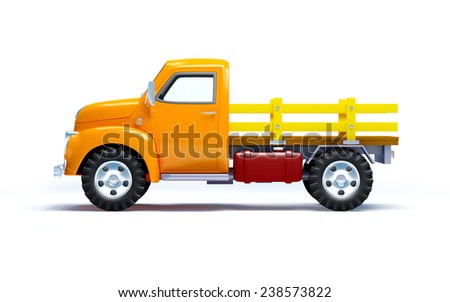 Vintage old farm truck isolated on white. Side view. - stock photo