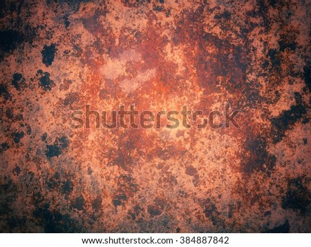 Vintage old grunge rusty metal panel in industrial structure