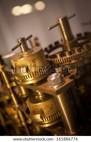 Vintage old Machine Gear Cog, cooperation, teamwork and time concept  - stock photo