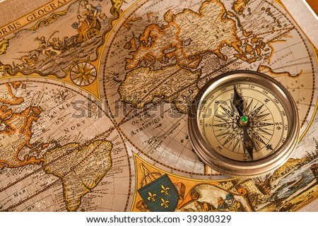 Vintage Old Map and Compass Concepts - stock photo