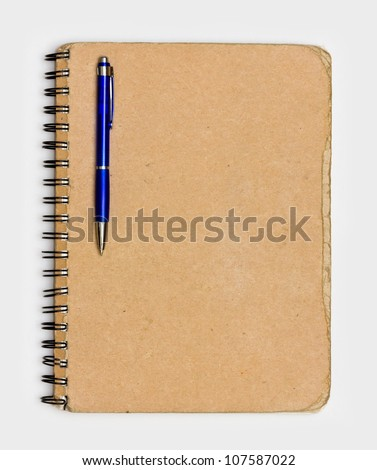 Vintage Old Notebook Paper with Pen