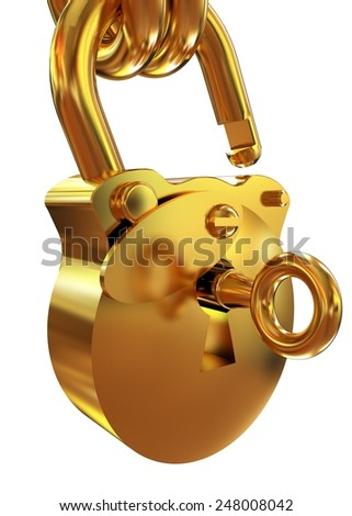 Vintage old padlock unlocked - stock photo