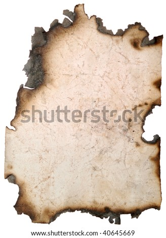 vintage old paper page with burnt edges on a white