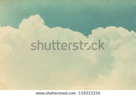 Vintage old paper texture on the sky. - stock photo