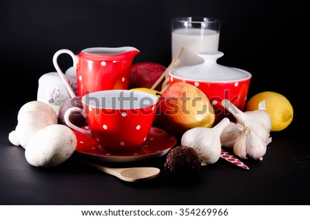 vintage old Porcelain service for coffee and tea - stock photo