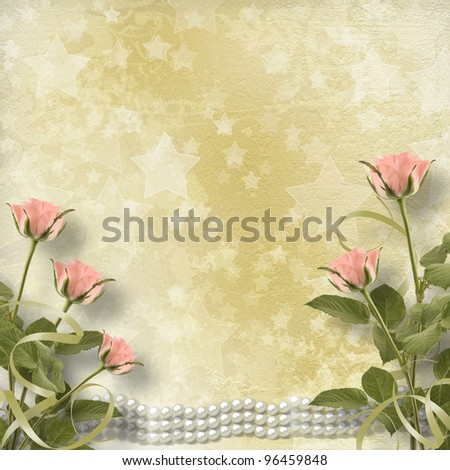 Vintage old postcard for congratulation with roses and pearls - stock photo